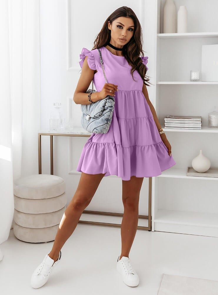 Liliowa sukienka z falbankami przy...