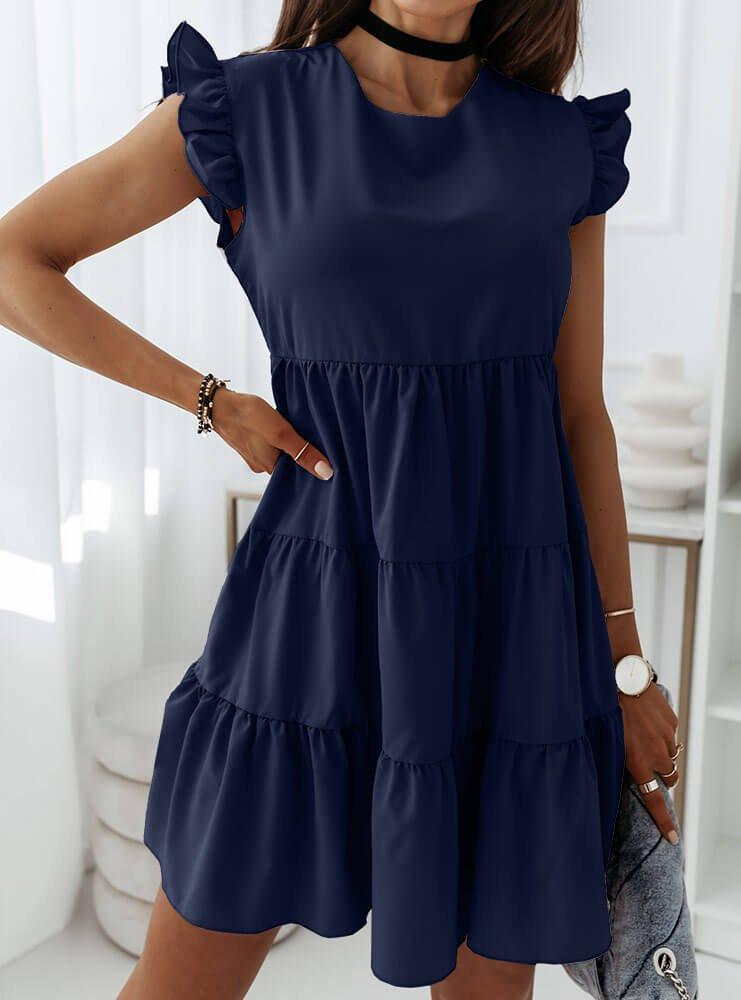 Granatowa sukienka z falbankami przy...