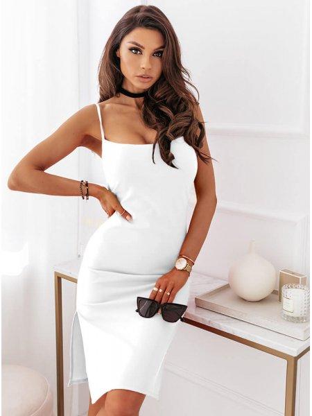 Biała dopasowana sukienka...