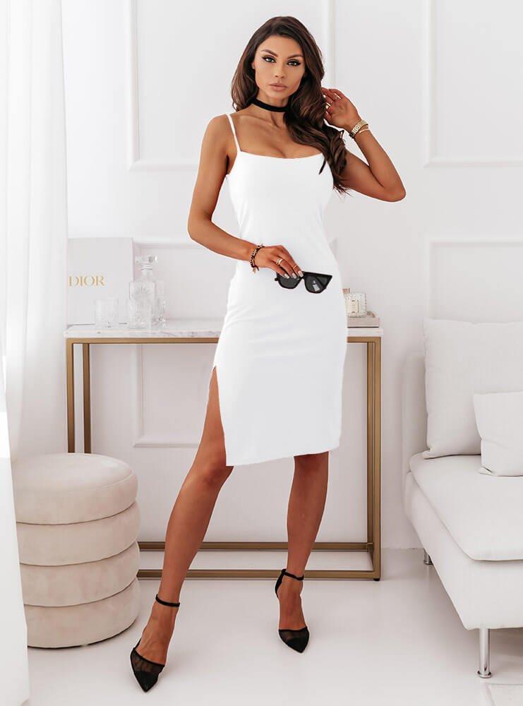 Biała dopasowana sukienka na...