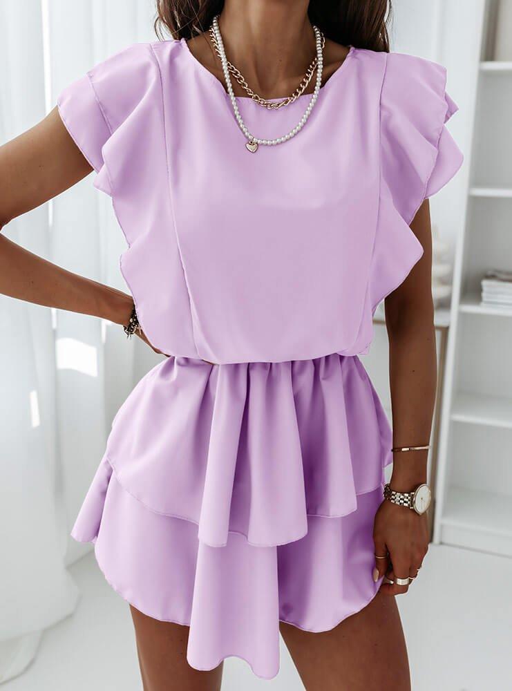 Liliowa sukienka z falbankami Solrunn