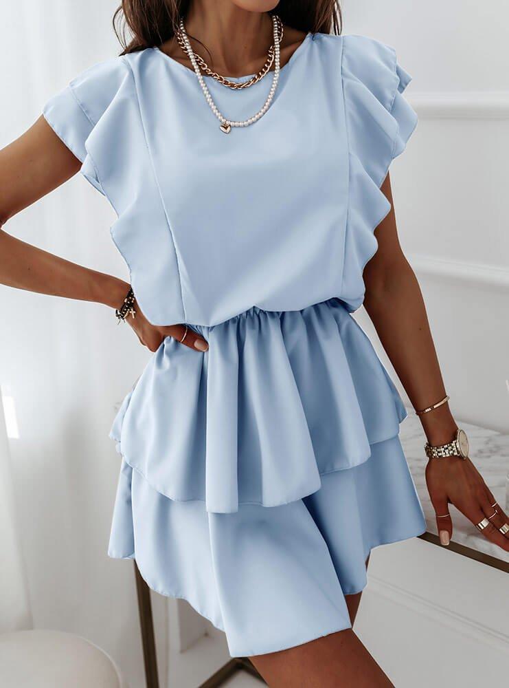 Błękitna sukienka z falbankami Solrunn