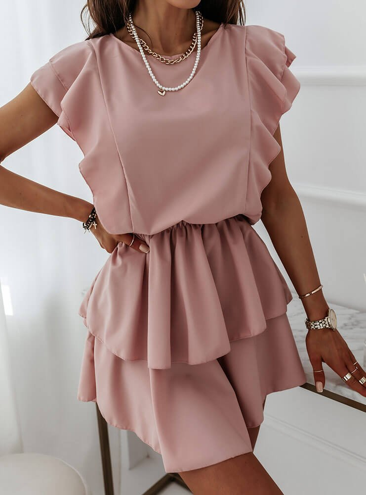 Sukienka z falbankami Solrunn - brudny róż