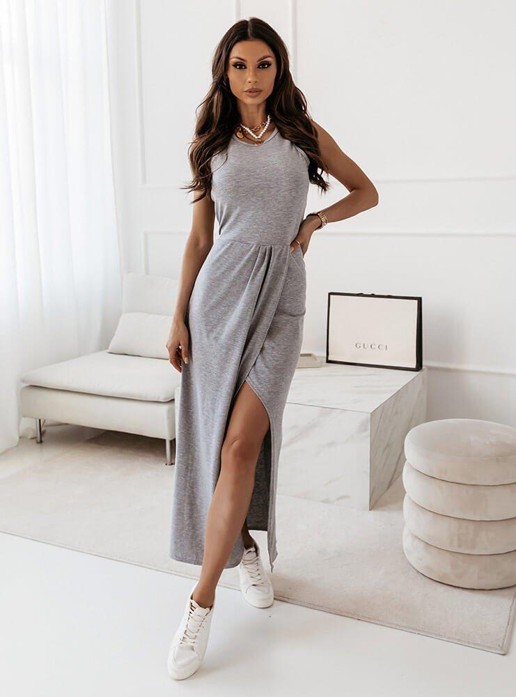 Długa sukienka z rozporkiem Lenika - szary melanż