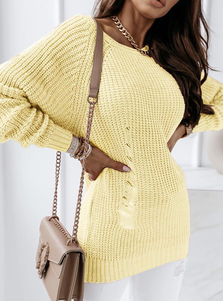 Cytrynowy sweter z przetarciami Katarine