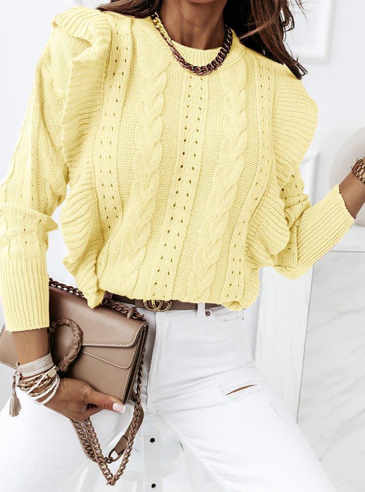 Cytrynowy ciepły sweter Leenu