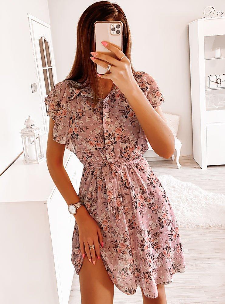 Sukienka w kwiaty Nickila - brudny róż