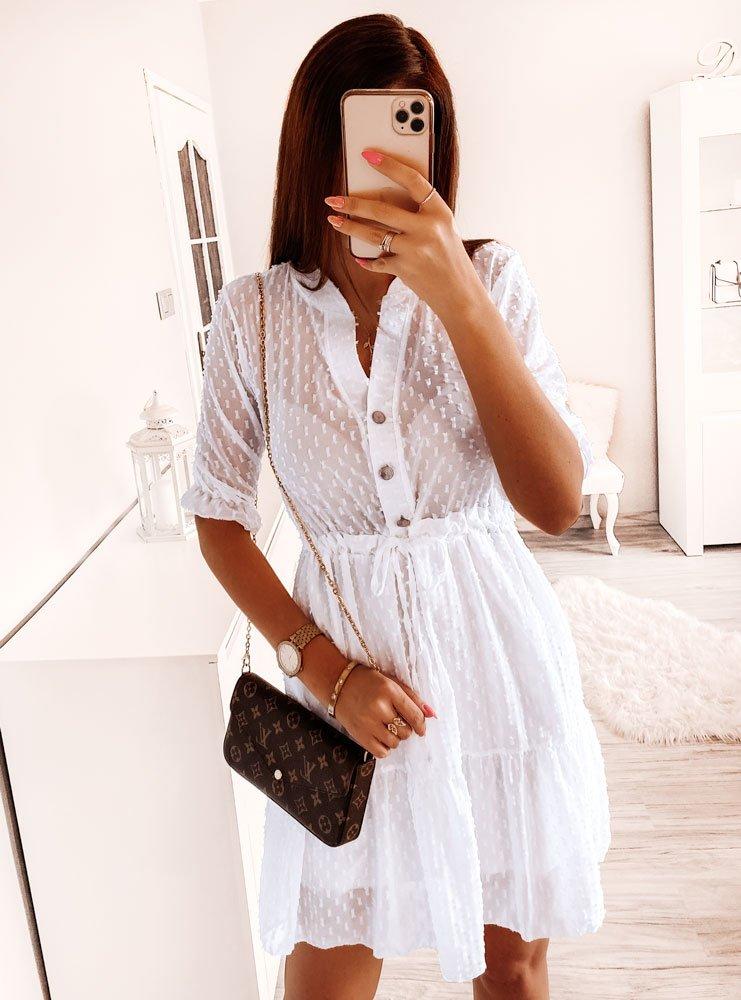 Biała wiosenna sukienka regulowana w...