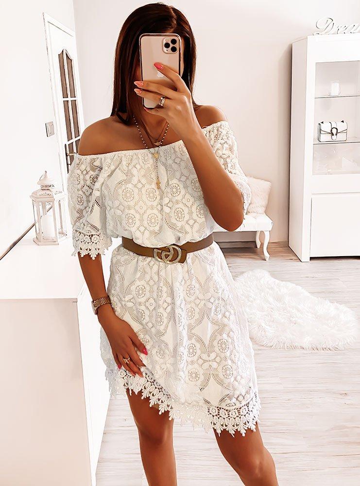 Biała sukienka z koronką Moniee