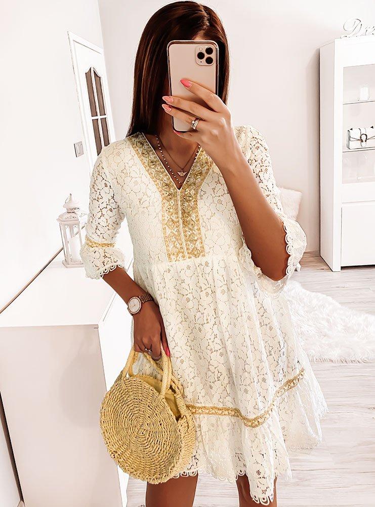 Biała koronkowa sukienka Fga