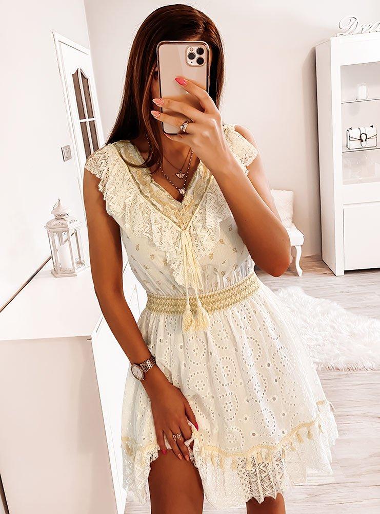Biała sukienka z falbanką Sizu