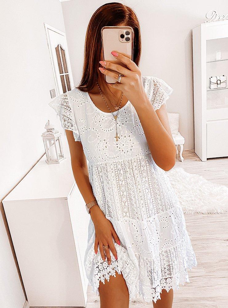 Biała ażurkowa sukienka z koronką Shelbi