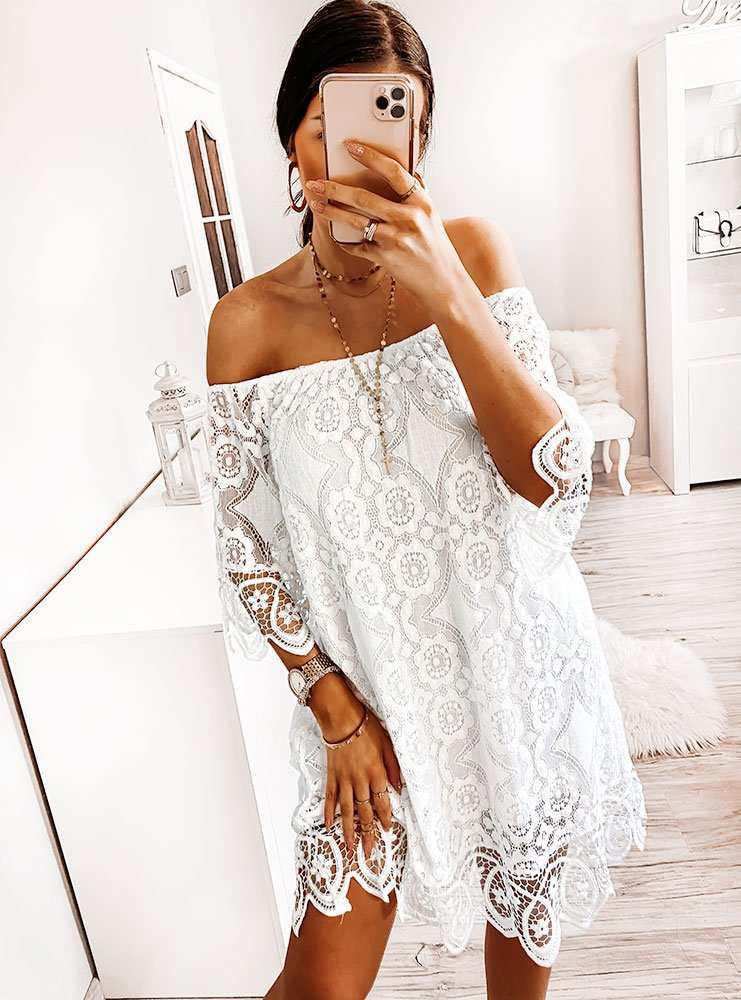 Biała koronkowa sukienka hiszpanka...