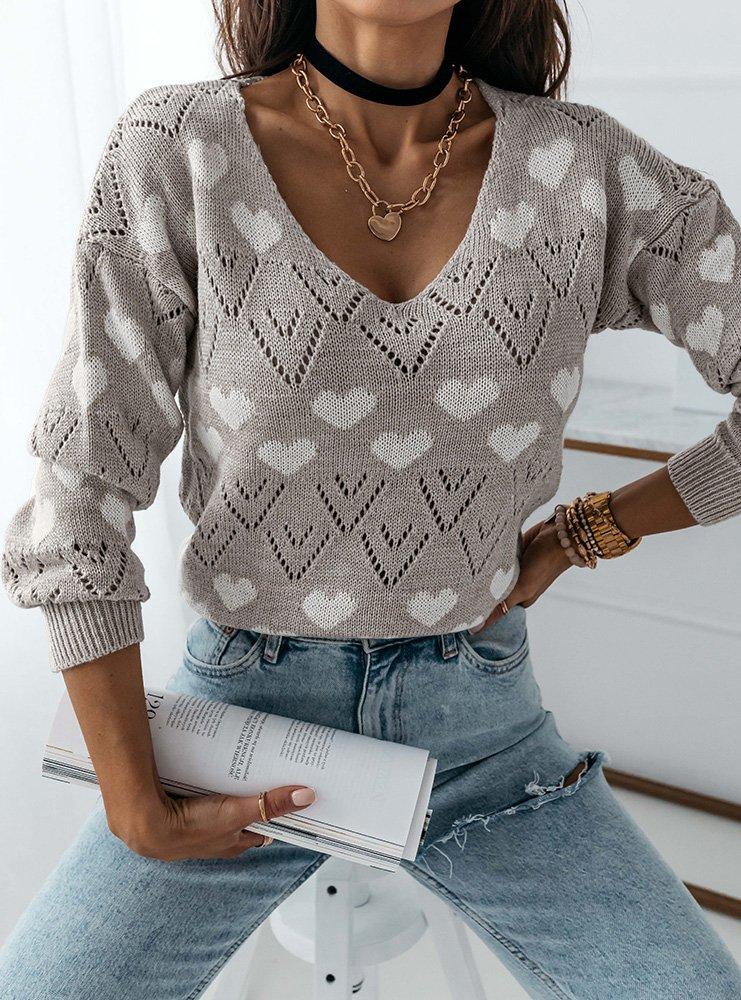 Szary wygodny sweter w serduszka Millie