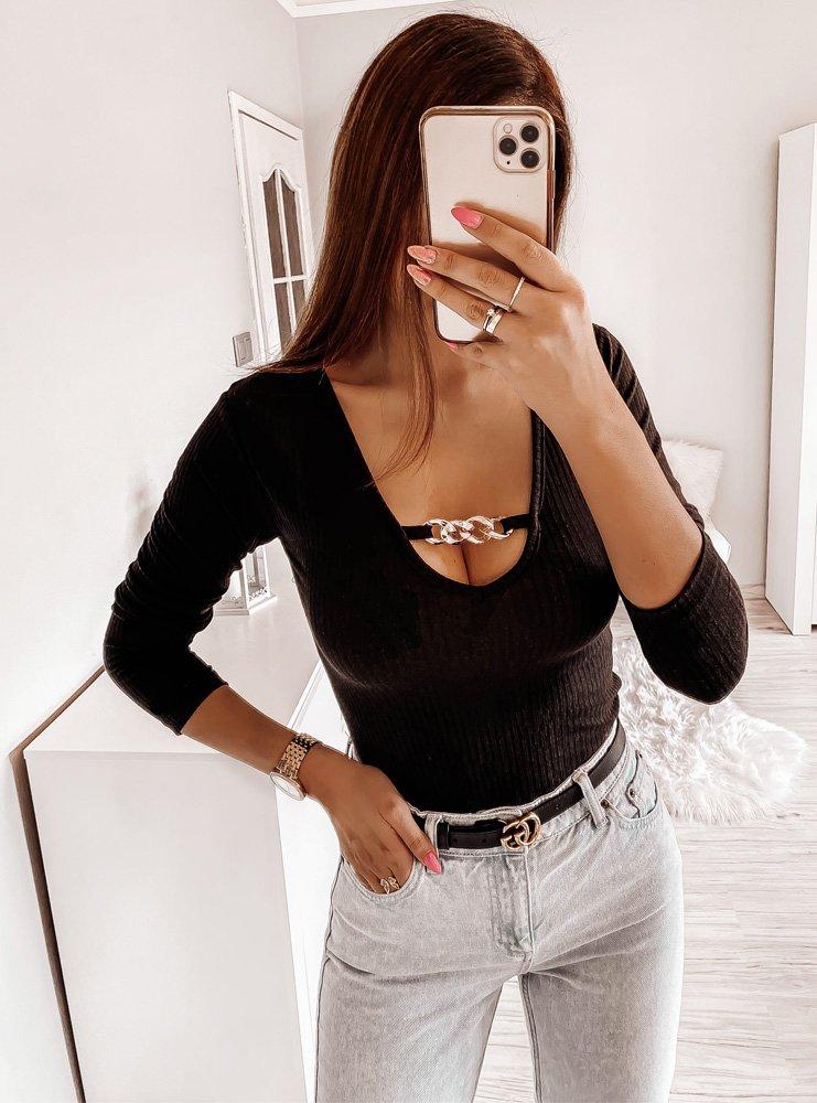 Czarna bluzka prążkowana Nanja