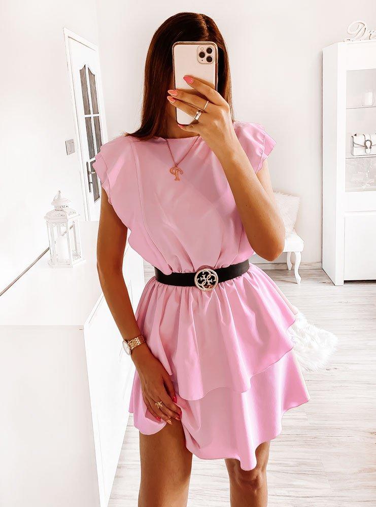Różowa sukienka z falbankami Ilta