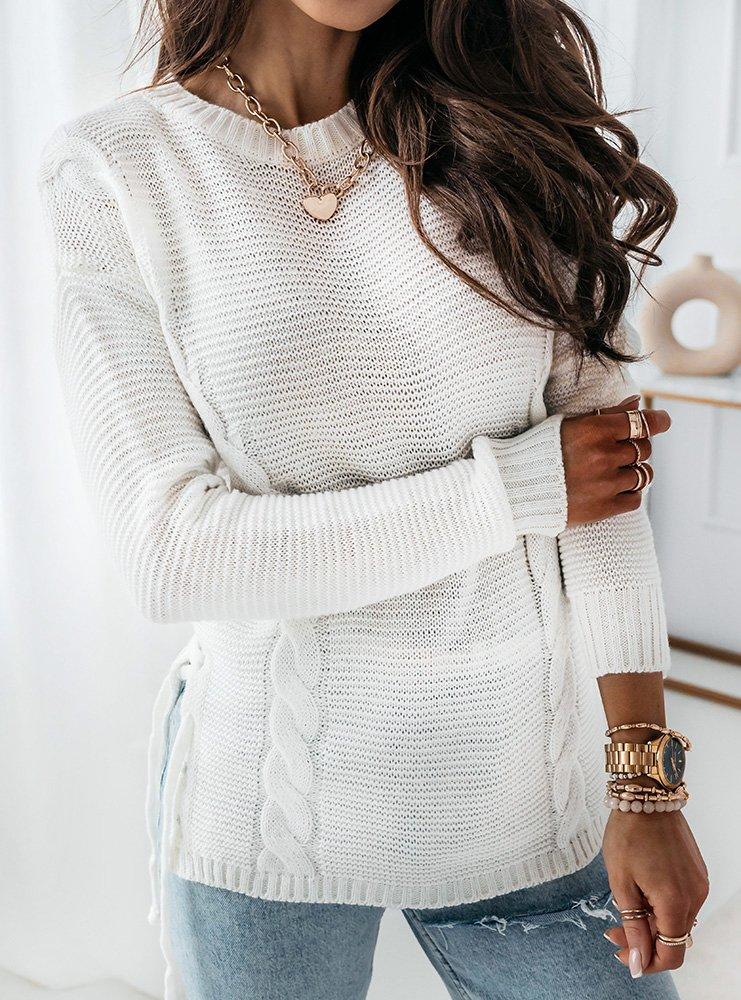 Biały sweter z wiązaniem na boku Orli