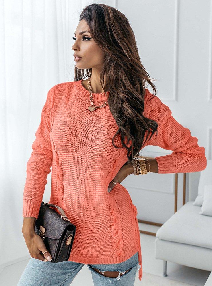 Brzoskwiniowy sweter z wiązaniem na...