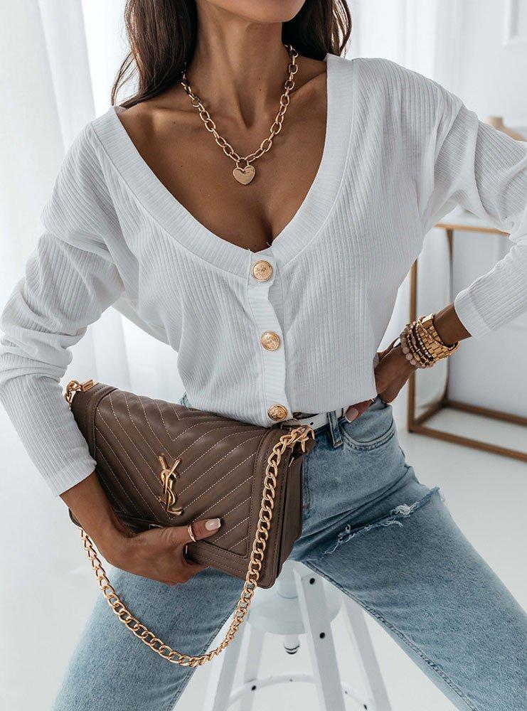 Biała prążkowana bluzka rozpinana Fonii