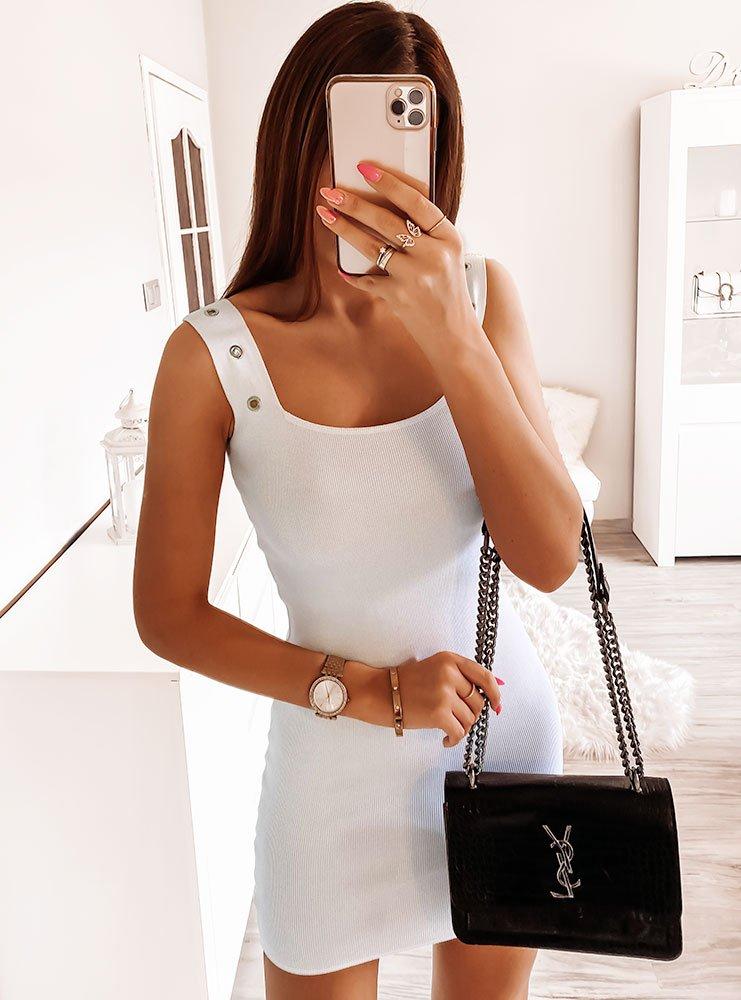 Biała prążkowana sukienka Andreaa