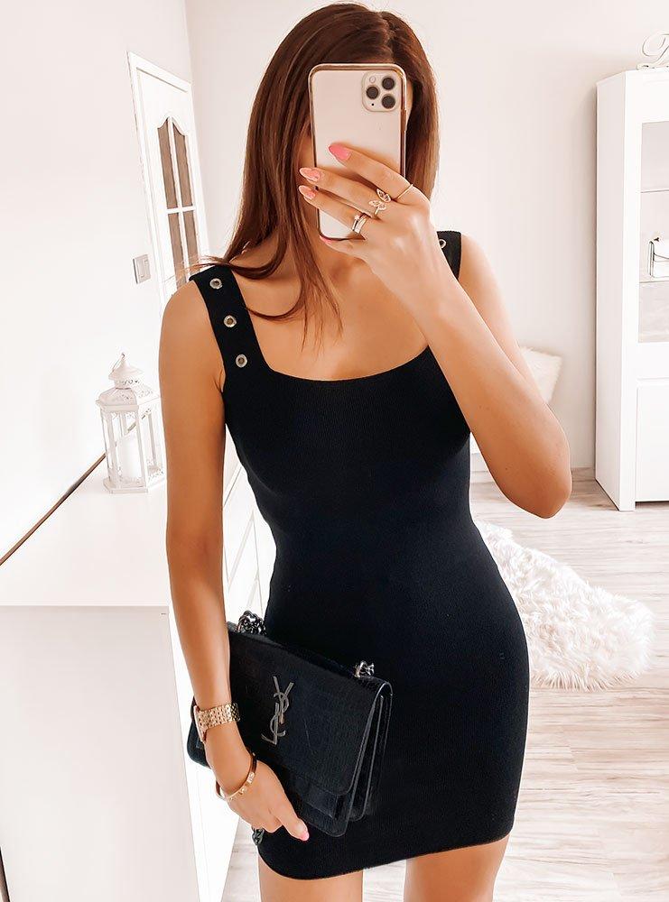 Czarna prążkowana sukienka Andreaa