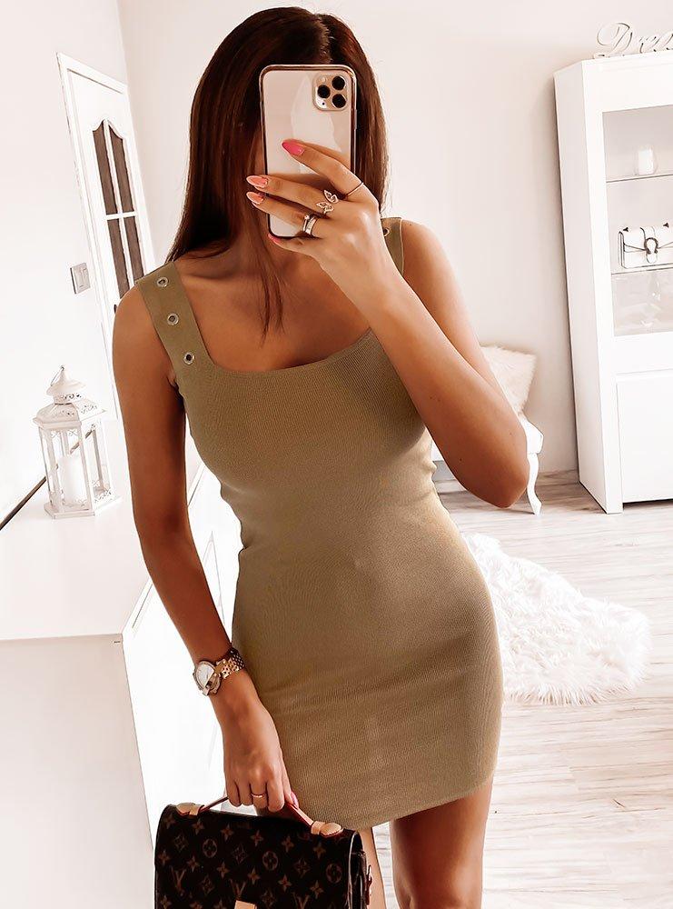 Karmelowa prążkowana sukienka Andreaa