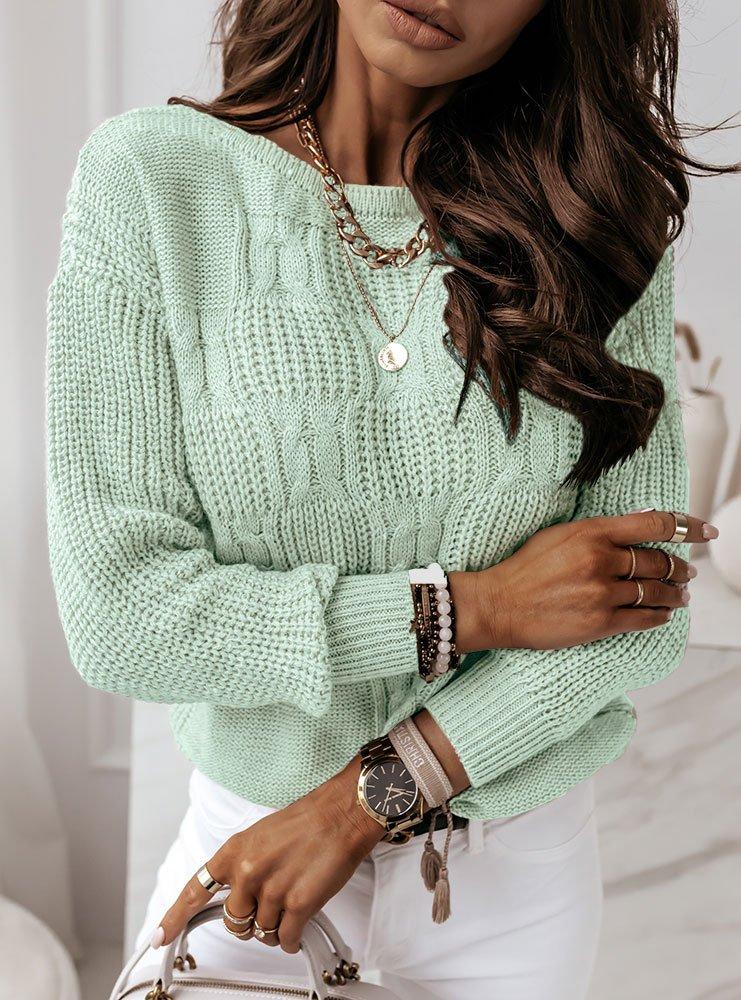 Miętowy sweter z ozdobnym splotem Aksa