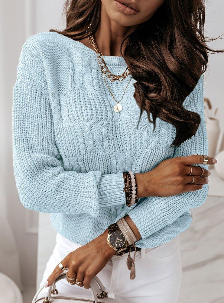 Błękitny sweter z ozdobnym splotem Aksa