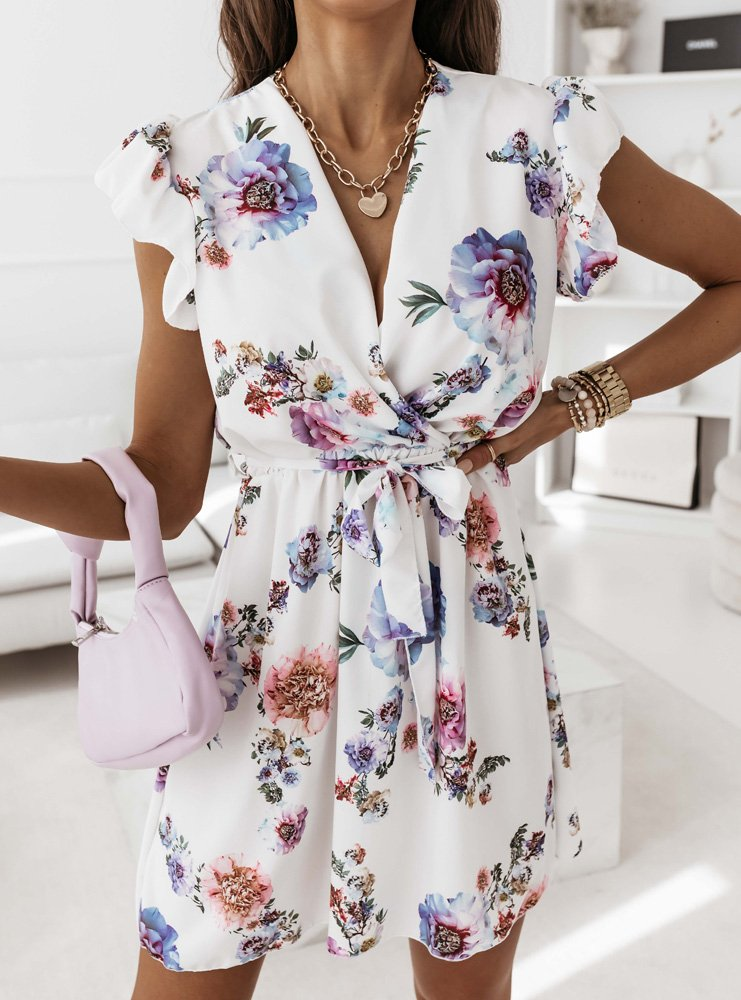 Kwiatowa przekładana sukienka Torie -...