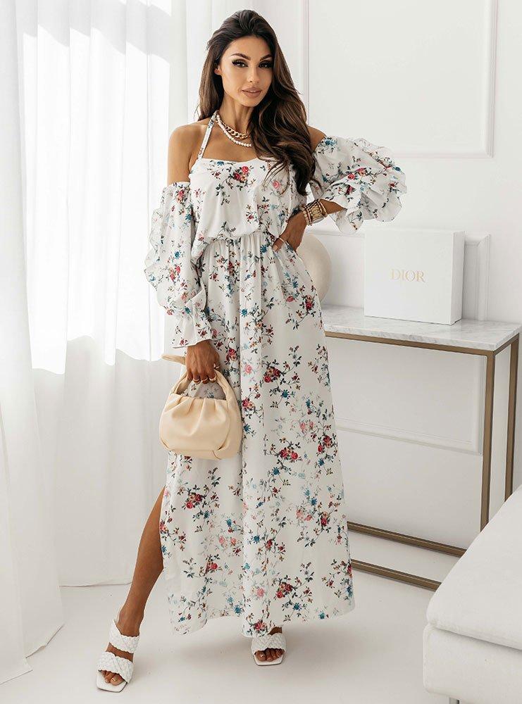 Sukienka wzorzysta maxi hiszpanka z wiązaniem Elli - D22C1