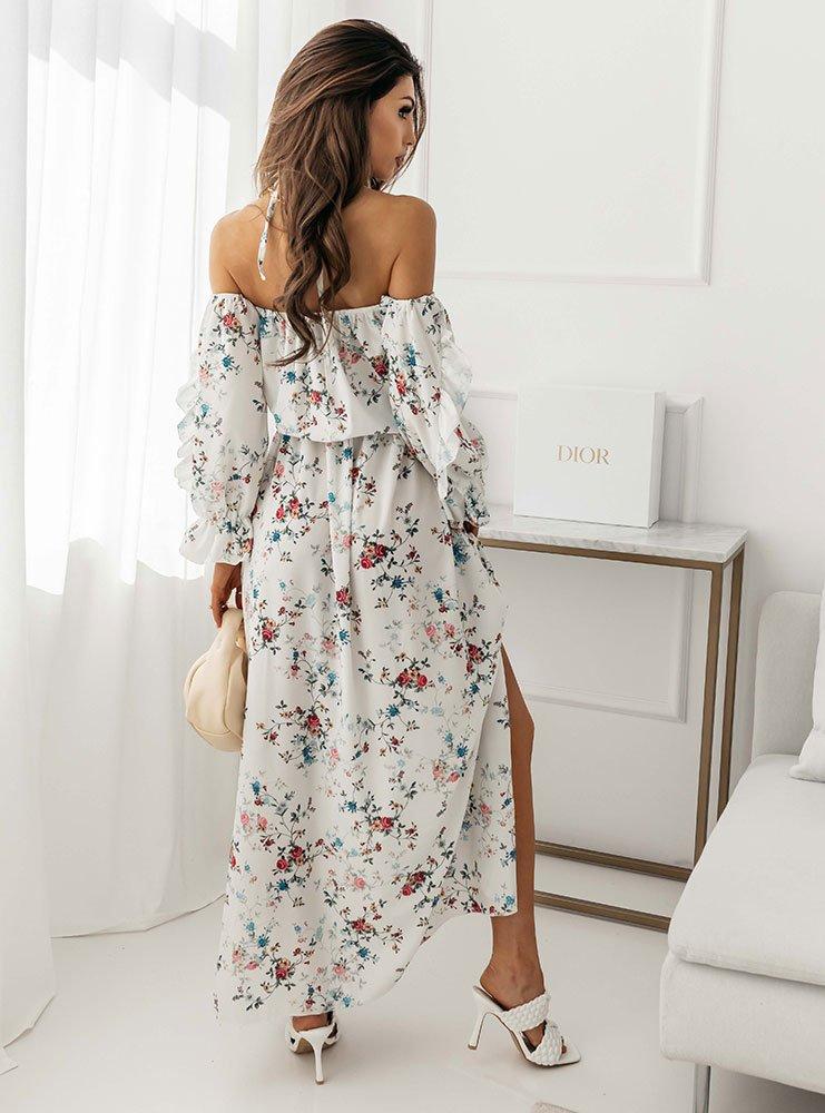 Sukienka wzorzysta maxi hiszpanka z...