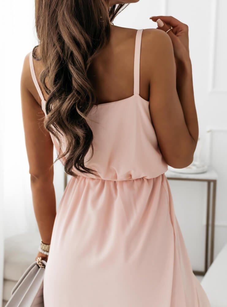 Pudrowa asymetryczna sukienka na...