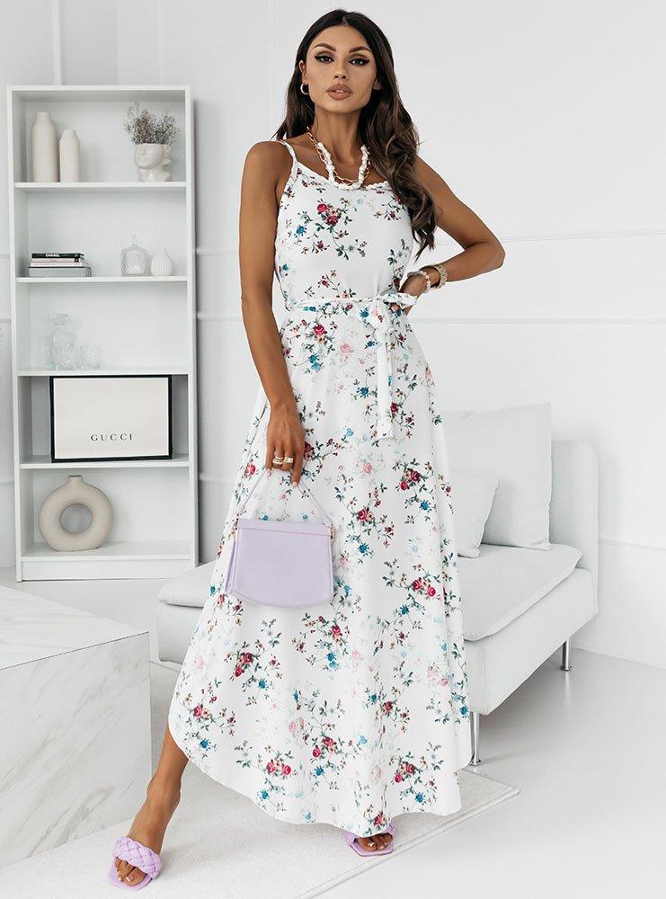 Wzorzysta asymetryczna sukienka maxi Finiki - D22C1