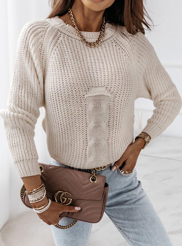 Jasnobeżowy sweter z ozdobnym splotem...