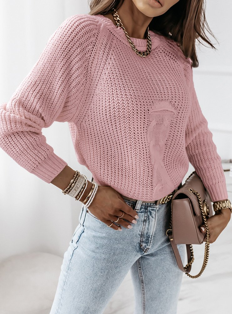 Pudrowy sweter z ozdobnym splotem Denna