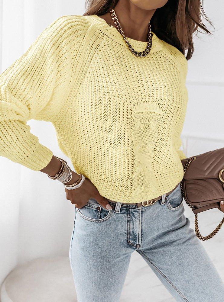 Cytrynowy sweter z ozdobnym splotem...