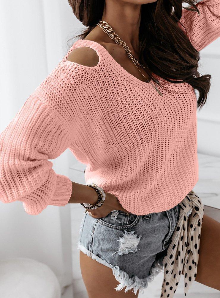 Brzoskwiniowy sweter z wycięciami na...