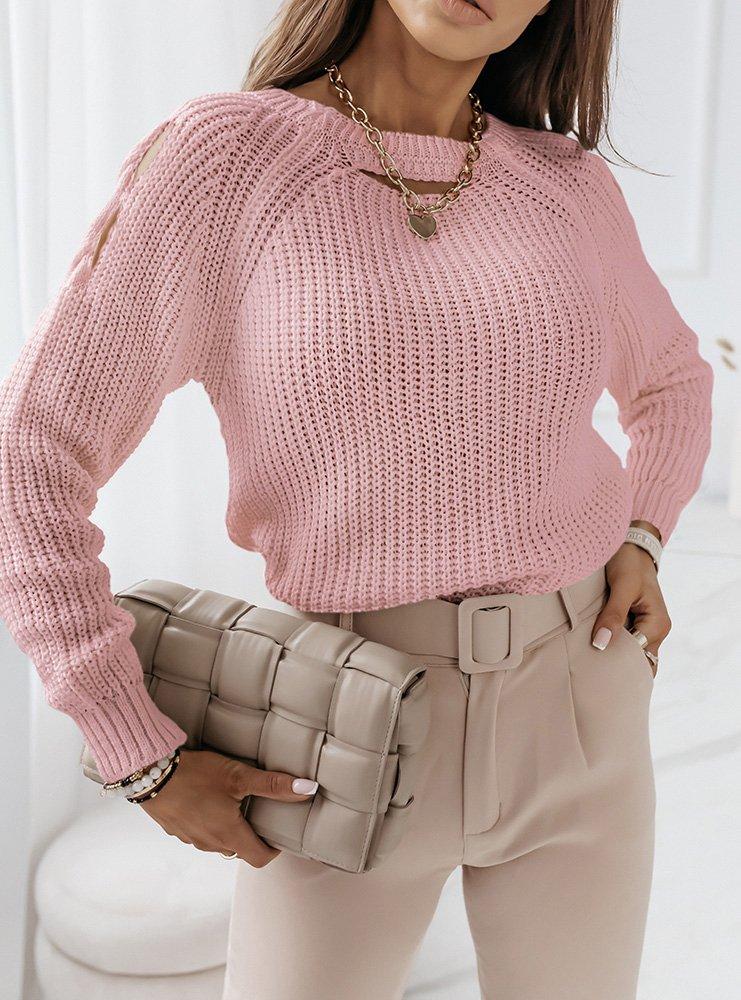 Pudrowy sweter z wycięciami na...