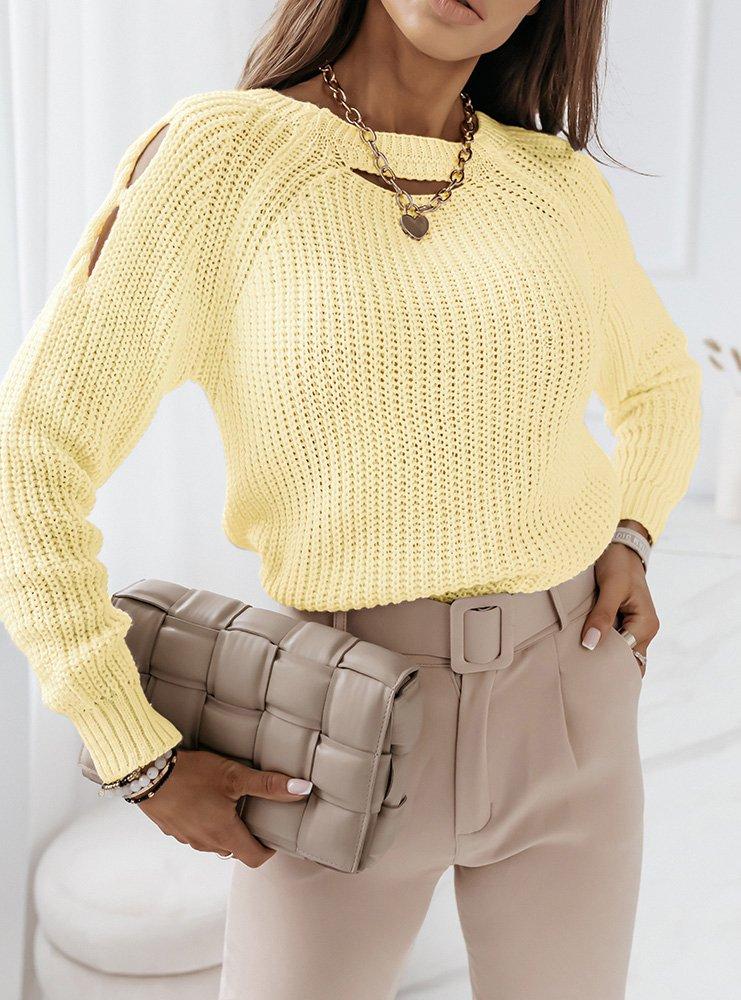 Cytrynowy sweter z wycięciami na...