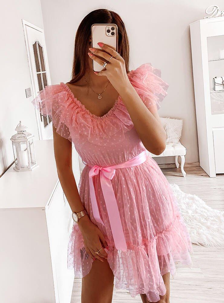 Pudrowa sukienka z tiulu Rooda