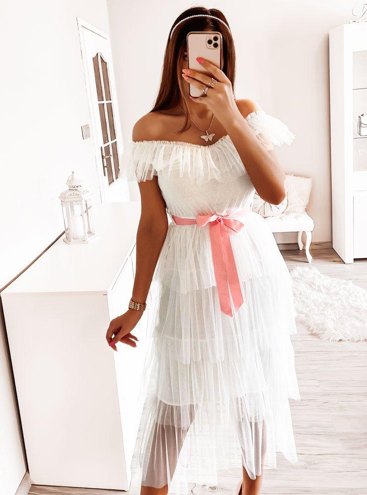 Biała tiulowa sukienka Carmon