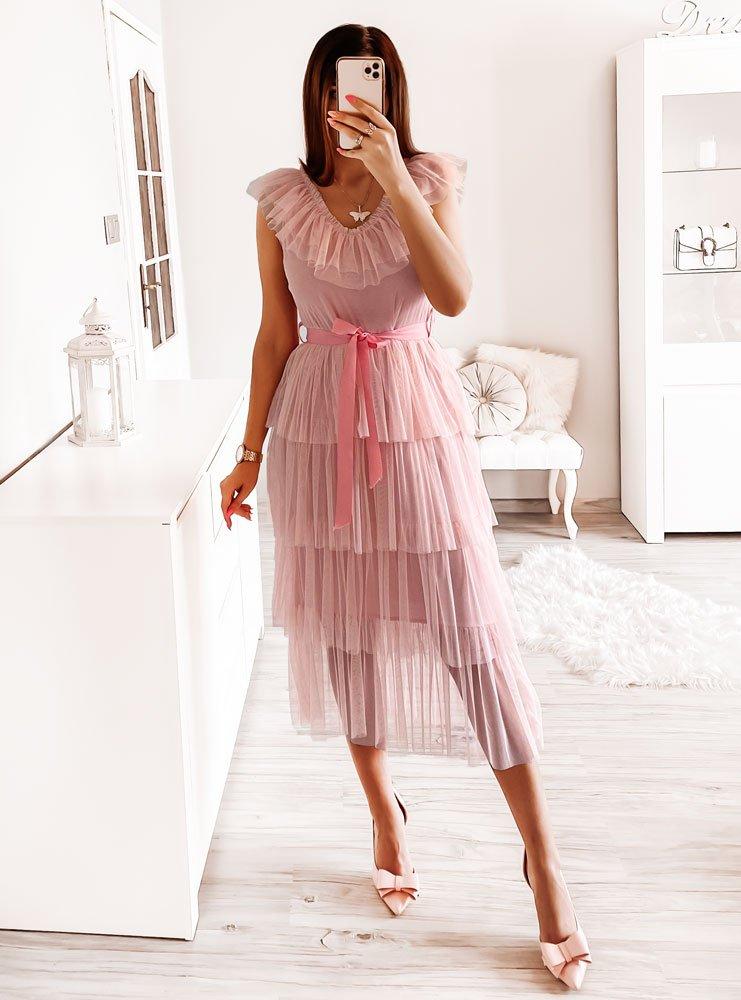 Pudrowa tiulowa sukienka Carmon