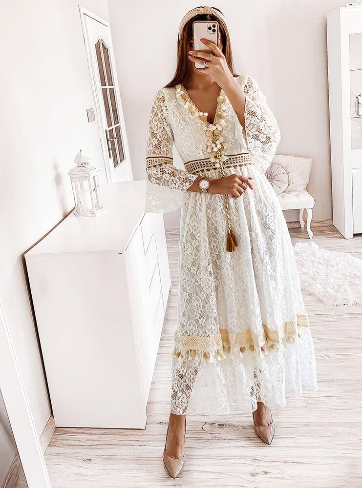 Biała sukienka z koronki Kaje