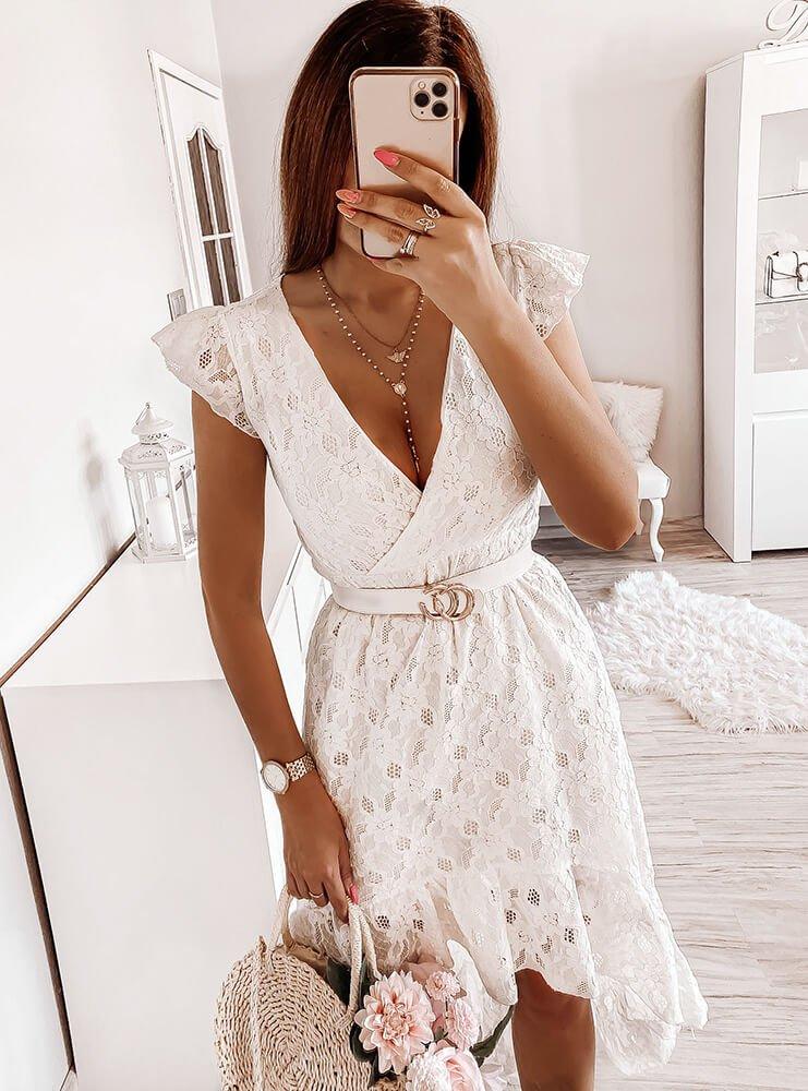 Biała długa sukienka Vinca