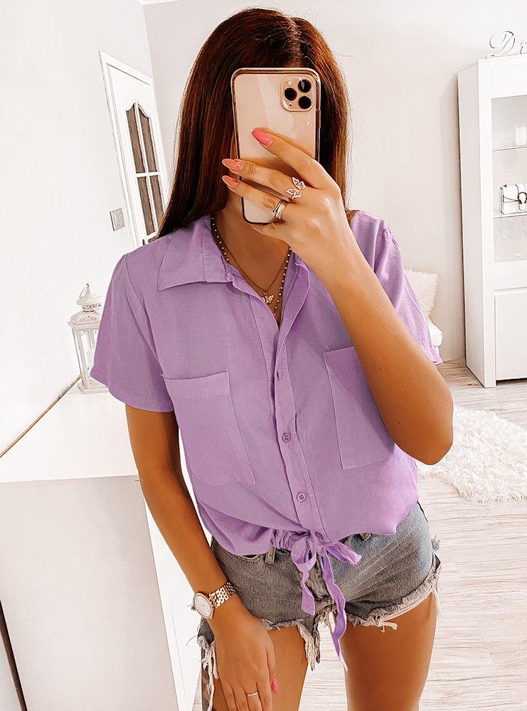 Wiązana bluzka koszulowa na guziczki...