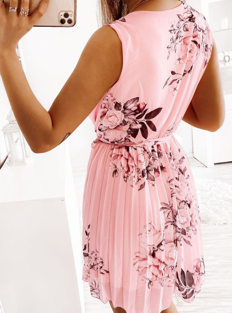 Pudrowa sukienka w kwiaty z...