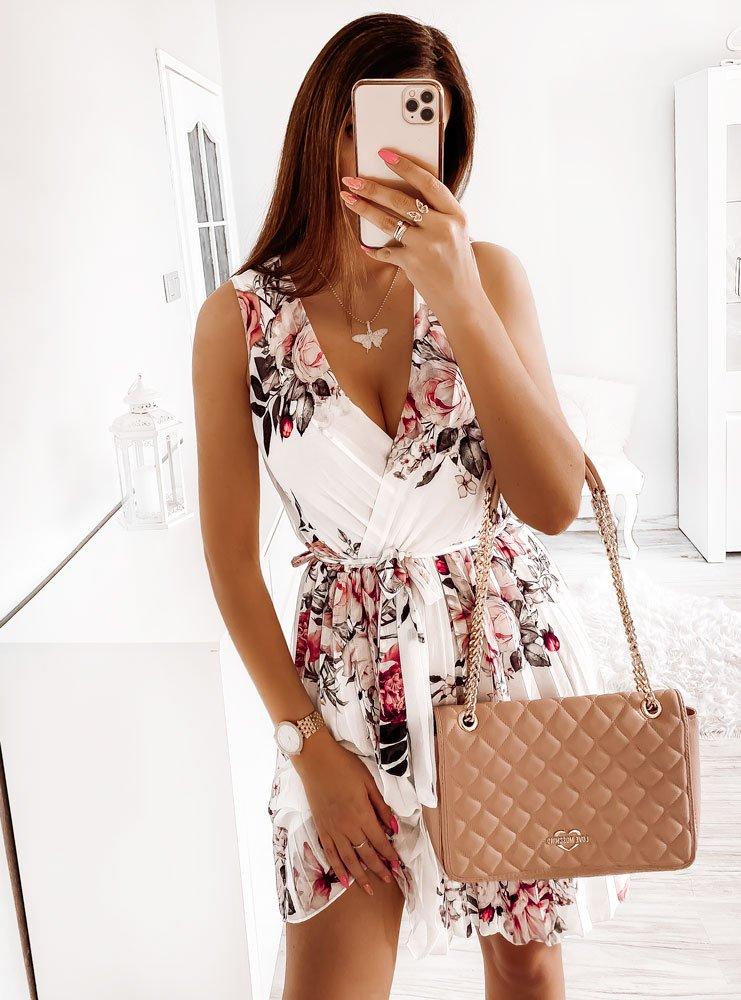 Biała sukienka w kwiaty z plisowanym...