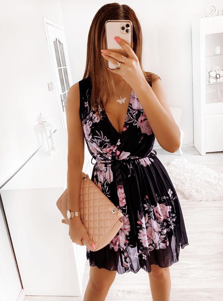 Czarna sukienka w kwiaty z plisowanym...