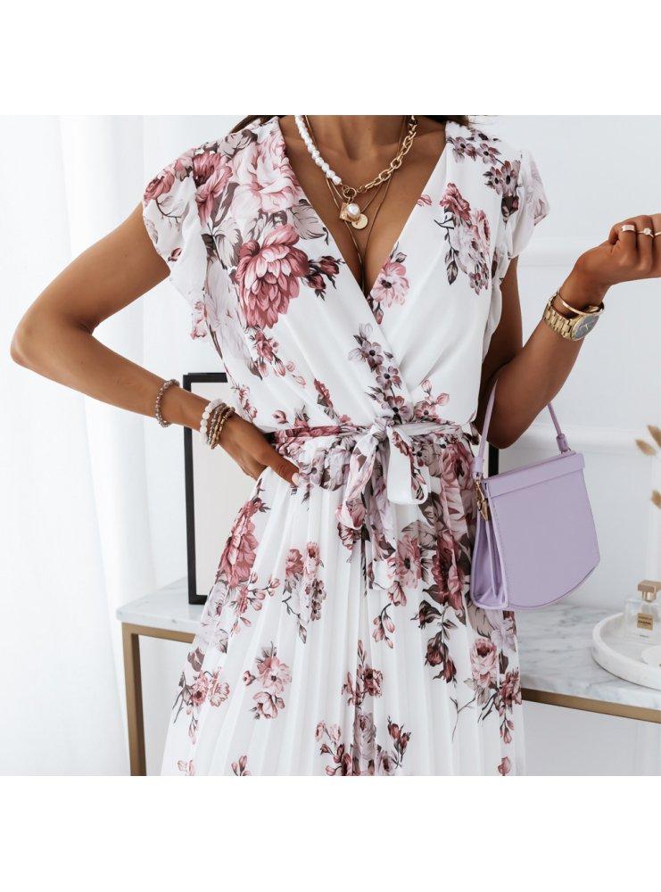 Biała kwiecista sukienka z paskiem Sikke