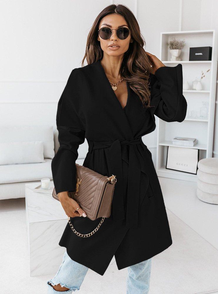 Czarny długi płaszcz z paskiem Janaya